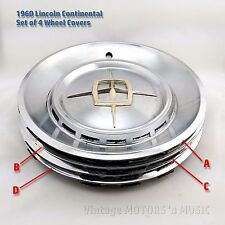 "1959-1960 Lincoln Continental Mark V (4) 16"" Wheel Covers VERY GOOD to EXCELLENT"