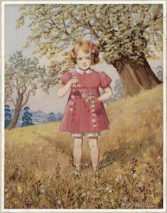 R A STONE Gouache Painting THE DAISY CHAIN - ILLUSTRATION - 20TH CENTURY