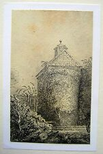 LATHBURY FAMILY (3 ) ROUND TOWER AT THE END OF A CHATEAU PENCIL C1830