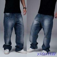 Mens Hip Hop Jeans Casual Fashion Baggy Cargo Pants Loose Long Trouser Plus Size