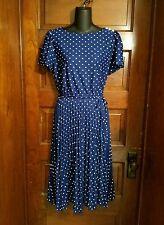 Vintage 70s Polyester Royal Blue Made in California Polka Dot Dress 10