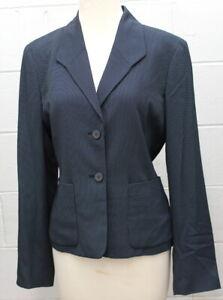 Anne Klein Womens 2 Button Blazer Jacket Suit Lined Career Blue Black Size 8 New