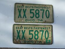 Vintage 1974 Ohio License Plates pair