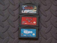Lot Nintendo Game Boy Advance GBA Games - Narnia + Cars + Finding Nemo