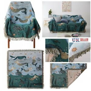 Mermaid Sofa Cover Throws Couch Towel Table Cloth Tapestry Tassels Blanket Mat
