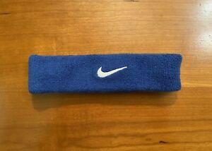 Nike Swoosh Blue Headband - Unisex Blue with White Swoosh