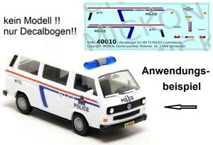 Mickon 40010 Decals VW T3 Bus Polizei POLICE Luxemburg passend für Herpa 1:87 H0