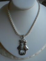 """Sterling Silver Marcasite Cat Pair Pendant 18"""" Italian Chain Necklace  2357"""