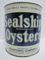 SEALSHIPT OYSTERS Old Advertising Tin Bluepoints Co Sayville Long Island NY USA