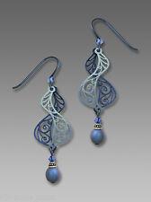 Adajio DUSTY SAPPHIRE Blue Filigree Helix EARRINGS STERLING Silver Bead + Box