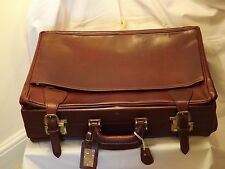 Tanner krolle Vintage Doble Decker Borgoña maleta Hide & Faille Forro 1980
