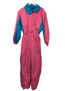 Descente Funky Retro Vintage Pink Blue Colour Block Snow Ski Suit M/L