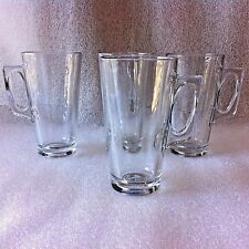 4 - PASABAHCE - PILSNER STYLE CLEAR HANDLED GLASS TUMBLERS MUGS