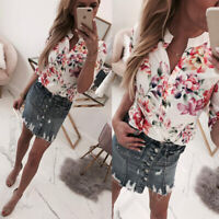 Plus Size Women Floral Short Sleeve Blouse Loose Tops Ladies V Neck Summer Shirt