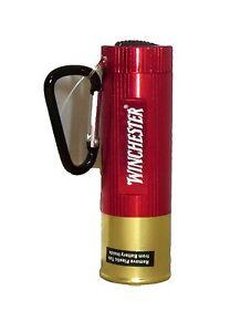 Winchester Shotgun Shell Flashlight 9 LED Red Gold New Carabiner Clip