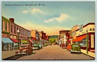 Postcard Moundsville West Virginia Downtown View Old Cars 1930's P7