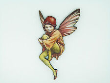 FLOWER FAIRIES THE HAWTHORN FAIRY COLOURFUL WOODEN BROOCH PIN BROWN FLOWER