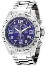 SWISS LEGEND EOGRAPH CHRONO STAINLESS STEEL DARK BLUE DIAL SILVER-TONE BAND