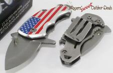 US USA American Flag Mini Spring Assisted Money Clip Boot Folding Pocket Knife