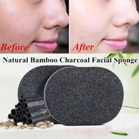 Bamboo Charcoal Facial Puff Sponge Face Deep Cleaning Washing Black Exfoliator