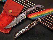 CUSTOM HANDMADE DAMASCUS STEEL FOLDING POCKET KNIFE SLF-01