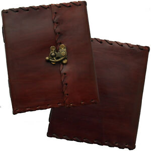 """6"""" Real Leather Handmade Vintage Journal Sketchbook Diary Lock & Cartridge Paper"""