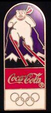 Downhill Skiing Olympic Pin Badge~Lillehammer~1994~Polar Bear~Coke~Coca Cola