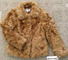 * Girls Size M Medium 8 10 12 Coffeeshop Ginger Brown Faux Fur Winter Dress Coat