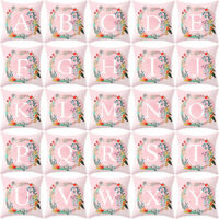 EG_ PINK 26 LETTERS PILLOW CASE WAIST THROW CUSHION COVER HOME SOFA DECOR KAWAII