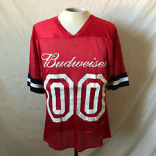 Vintage 80's Budweiser Football Jersey Medium 38-40 Red White Blue Promo