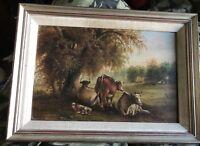 Thomas K Van Zant (American 1814-1886 ) Rare 1879 Original Oil Painting Cows NY