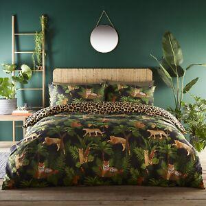 Jungle Cats Leopard Print Duvet Cover Tropical Leaf Quilt Bedding Bed Set King