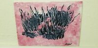Pink Day Grass Original Abstract Painting,   Acrylic on   Canvas Panel, Signed