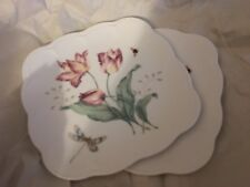 LENOX BUTTERFLY MEADOW SET OF 2 SQUARE ACCENT PLATE NEW