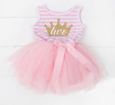 2nd Birthday Two Baby Girl Bodysuit Tutu Pink Outfit Sleeveless NWT