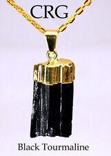 Gold Plated Black Tourmaline Pendant Standard Quality (PT22BT)