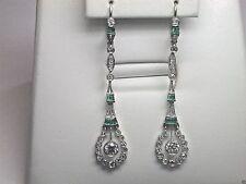 Antique Art Deco Vintage European Diamond Earrings Platinum Emeralds EGL USA