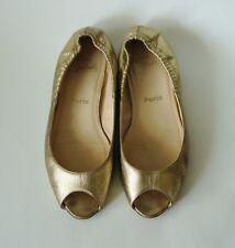 Auth Christian Louboutin Black Leather Flat Shoes Sz 41