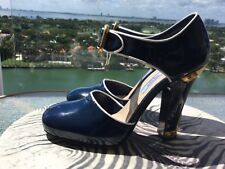 Prada Runway Patent Leather ankle strap shoes Navy blue/white 36,5 6,5 US
