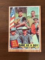 1962 TOPPS BASEBALL card ~~ #135 BABE RUTH SPECIAL ~~ BABE AS A BOY ~~ GREN TINT