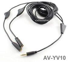 10ft 3.5mm Stereo Headset Audio Splitter with Separate Volume Controls, Av-Yv10