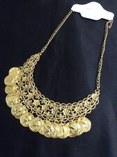 *Vintage Style Gold Coin Bib Necklace*