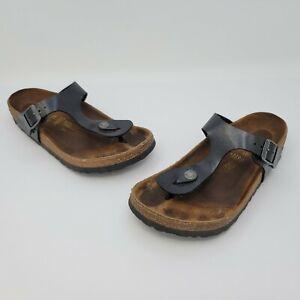 Birkenstock Gizeh Womens Black Birko Flor Thong Sandal Size 36 US L5 Regular