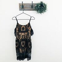 For Love and Lemons Black Tan Vienna Mini Dress S