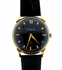 GIRARD PERREGAUX 17 JEWELS SWISS MADE WATCH BLACK FACE LEATHER STRAP C1970 GOLD