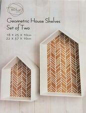 Set 2 in legno bianco in legno Skandi Stile Geo Forma Geometrica House Ripiani Nuovo