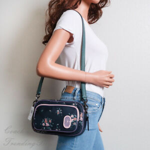 NWT Coach 91020 Court Crossbody with Rose Bouquet Print in Midnight