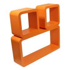 Setof 3 Wall Mount Orange Cube Shelving Display Unit CD Toys Home Decor Shelves