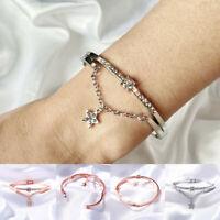 Shining Star Crystal Stainless Steel Bracelet Bangle Chain Wedding Jewelry Girl