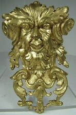 Antique 19c Figural Scary Evil Face Brass & Gilt Decorative Art Hardware Element